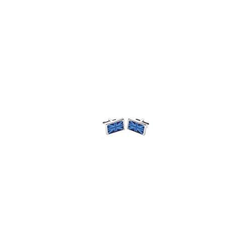 Sonia Spencer. Boutons de Manchette. Blue Union Jack, Acier rhodié. Bleu, Fantaisie.