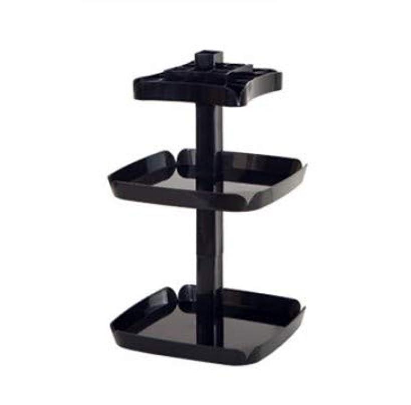 間に合わせタイル記念クリエイティブ回転マニュアルデスクトップ化粧品収納ボックスプラスチック多機能家庭用仕上げボックス (Color : ブラック)