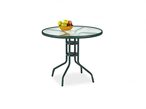 Mesa de cristal con patas de metal, color verde, 80 x 72 cm