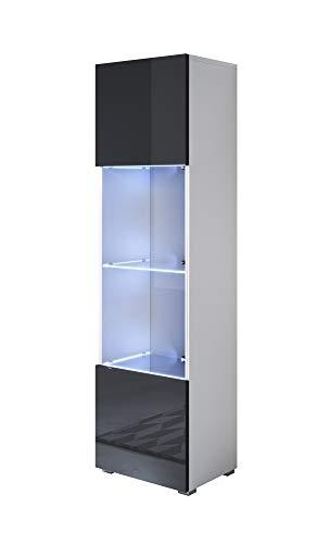 muebles bonitos Vitrina Modelo Luke V6 (40x167cm) Color Blanco y Negro con Patas estándar