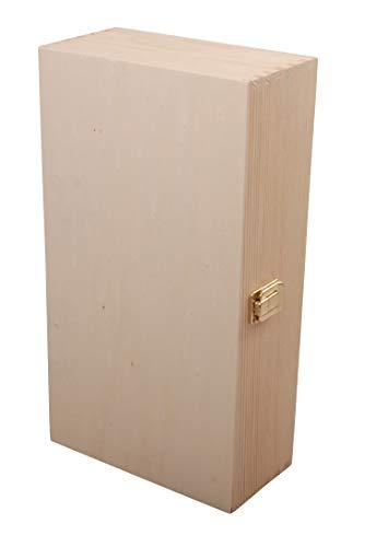 Myboxes - Caja de madera natural con cierre de hebilla, también se puede utilizar como caja de vino