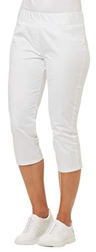 clinicfashion 10622001 Stretch Hose 3/4 Capri Damen weiß, Schlupfhose, Gummizug, Mischgewebe, Größe 40