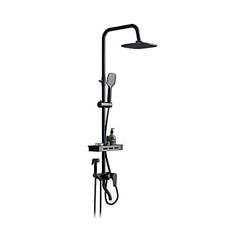 Conjunto de ducha de acero inoxidable, cabezal de ducha de doble mezclador, interruptor de salida de agua de cuatro controles de cuatro controles, boquilla de silicona fija ajustable de ángulo y silic