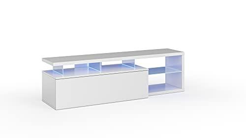Habitdesign Modulo de TV Moderno, Mueble Salon, Modelo Blue-Tech, Color Blanco Brillo y Luces LED, Medidas: 150 cm (Ancho) x 43 cm (Alto) x 41 cm (Fondo)