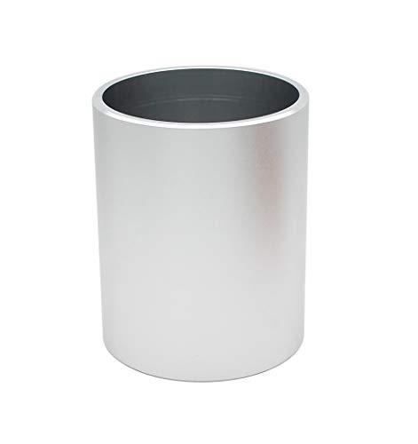 Hillento aleación de aluminio moderna portalápices redondo de metal y organizador de maquillaje para el hogar escuela de la oficina, plata