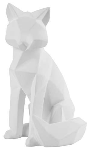 Present Time - Statue Origami Fuchs - Groß - Polyresin - matt weiß - 16,7 x 15 x 26 cm