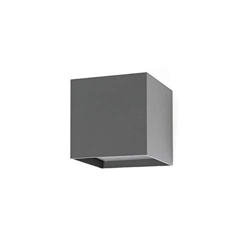 FARO BARCELONA 70637 - Olan Aplique (Bombilla incluida) LED, 6W, Cuerpo de Aluminio inyectado y difusor de Cristal Transparente, Color Gris