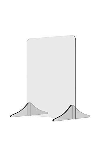 Solarplexius pannello anticontagio in Policarbonato. Parafiato da banco in materiale acrilico trasparente. Parete divisoria. Barriera divisoria di protezione da colpi di tosse, saliva e starnuti.