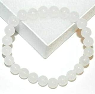 BR331 White Malay Jade 8mm Round 24-Bead Gemstone Stretch Bracelet 7.5