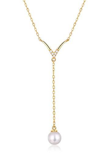 ZHANGQIAN Collar de Mujer de Plata de Ley 925, Collar Colgante de Perlas con Cadena 18'Joyas de Moda, Regalo para Ella