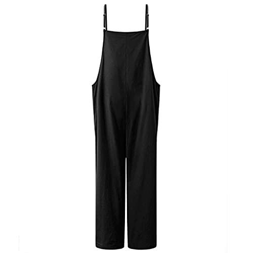 GFDFD Moda Moda Straps Straps Sumpsuits Summer Wide Pierna Pantalones Pantalones Sueltos sólidos Damas Casual (Color : Black, Size : Mcode)