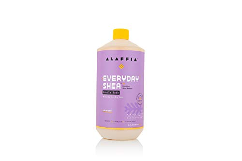 Alaffia Everyday Shea Bubble Bath Lavender, 32 Oz | Soothing Support for Deep Relaxation and Soft Moisturized Skin | Made with Fair Trade Shea Butter | Cruelty Free | No Parabens | Vegan