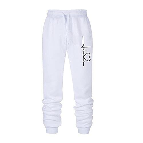 Pantalones de deporte sueltos anchos de las mujeres de los hombres de la cintura de los pantalones de impresión de la pareja de ocio Streetwear sólido pantalones de