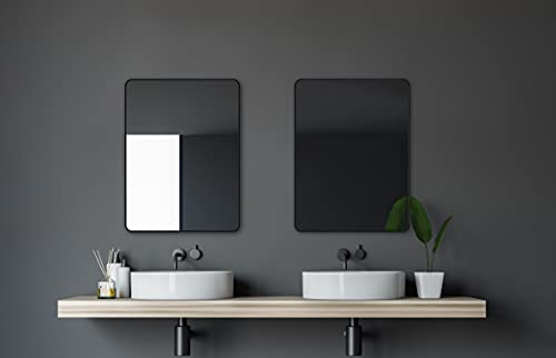Talos Design - Espejo de Pared (Marco de Aluminio, 80 x 60 cm), Color Negro Mate