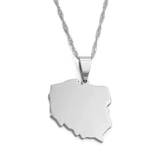 Collares con colgante de mapa de Polska para mujer, joyería, mapas de cadena de Polonia