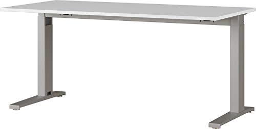 Amazon Marke - Alkove mechanisch höheneinstellbarer Schreibtisch Arlington, für ergonomisches Arbeiten, ideal für Home Office, in Lichtgrau/Silber, 160 x 88 x 80 cm (BxHxT)