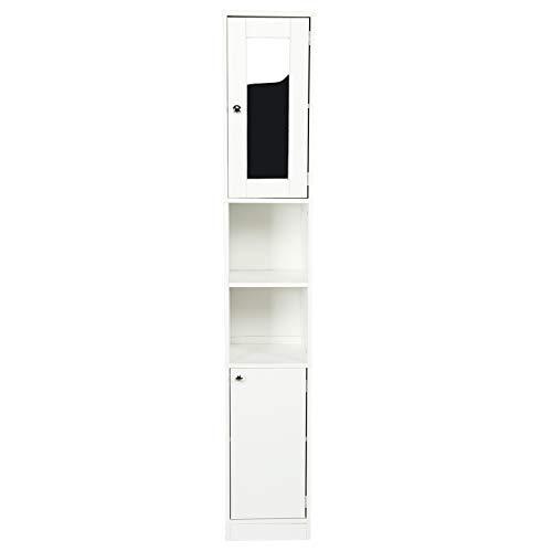 AYNEFY Badezimmer-Toilettenschrank, weiß, Badezimmer-Spiegelschrank, freistehend, Aufbewahrung, Hochschrank, 28,8 x 29,8 x 179,5 cm