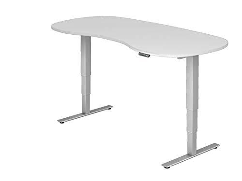 DR-Büro Steh-Sitz-Schreibtisch elektrisch höhenverstellbar bis 128 cm - 200 x 100 cm - Bürotisch in 7 Farben - nierenförmig - Stahlgestell Silber, Farbe:Weiss