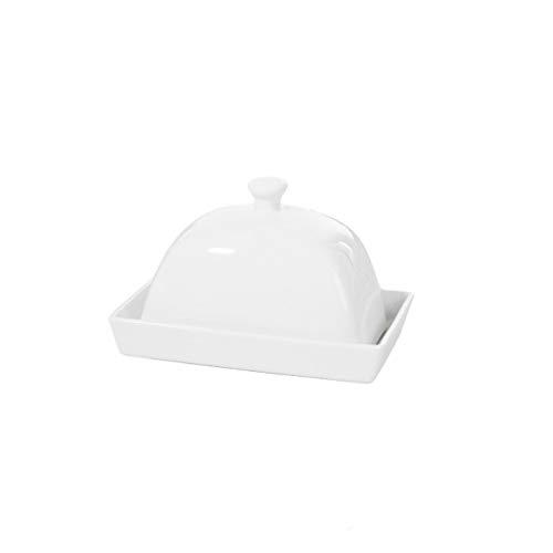 Recipiente para mantequilla Pura simple blanco con la tapa de cerámica Mantequilla Mantequilla caja cuadrada de estilo europeo Pegar Plato del condimento del plato vajilla de cocina Suministros Manteq