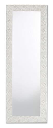 MO.WA Specchio Bianco Shabby da Parete o Appoggio Muro Cornice Legno Sbiancato 50X145 cm da Appendere Verticale/Orizzontale. Made in Italy.