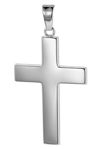 trendor Kreuz-Anhänger für Herren 27 mm Weißgold 585 / 14K Herren Goldanhänger, modischer Kreuzanhänger, Geschenkidee, eleganter Schmuck aus Echtgold 75445