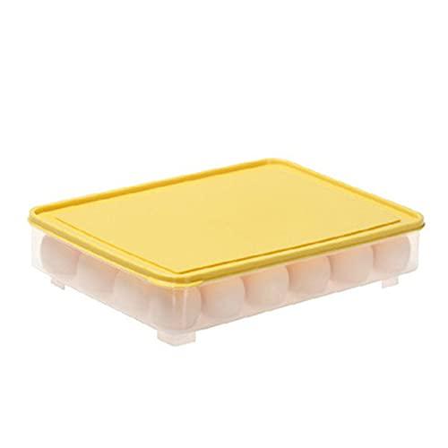 Caja de almacenamiento de huevos de 24 rejillas, bandeja de huevos para refrigerador, contenedor de alimentos de plástico, organizador de huevos, caja transparente de cocina de alimentos (amarillo)