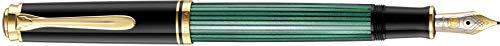 Pelikan 985721 Kolbenfüllhalter Souverän M 400 Bicolor-goldfeder 14-K/585 Federbreite F, 1 Stück, schwarz/grün