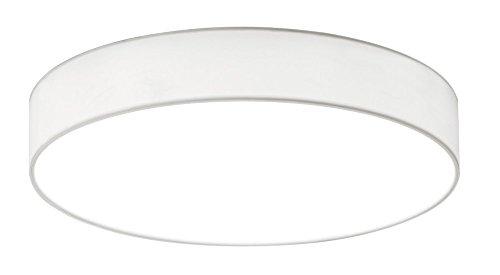 Trio Leuchten 621912401 Lugano A+, LED Deckenleuchte, nickel, 22 watts, Integriert, Stoffschirm Weiß, mit Switch-Dimmer, 40 x 40 x 10.5 cm