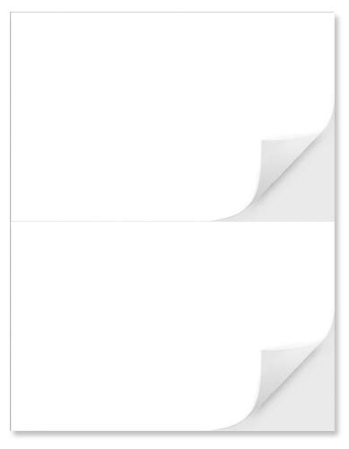 """2 Per Page 5-1/2"""" x 8-1/2"""" Blank White Laser / Ink Jet Labels, Strong Adhesive, Will Work for USPS Click-N-Ship, FedEx, UPS Shipping Labels (1000 Labels)"""