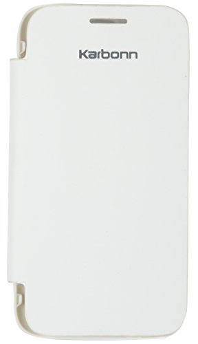 iCandy™ Synthetic Leather Flip Cover for Karbonn A4 Plus - White