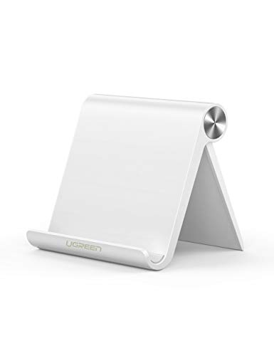 UGREEN Cell Phone Stand Holder Mobile Phone Dock Compatible for iPhone 11 Pro Max SE XS XR 8 Plus 6 7 5, Samsung Galaxy Note20 S20 S10 S9 S8 Android Smartphone Holder Desk Adjustable Foldable (White)