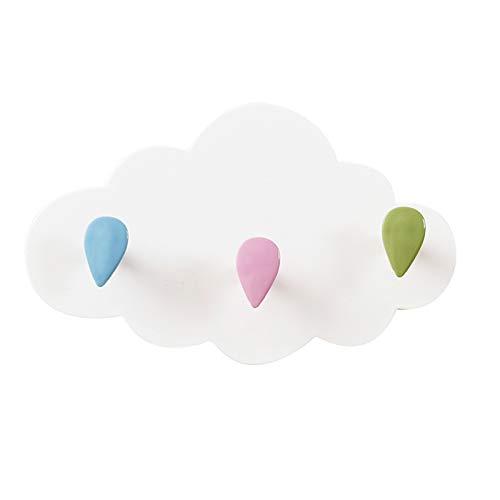 Perchero Pared Nubes Ganchos Autoadhesivos Percheros Infantiles Bonitos Fuerte Pegajosidad el Plastico Gancho para Toallas de Cocina y Baño Gancho de pared Sin Clavos Sin Perforaciones 3 Pomos
