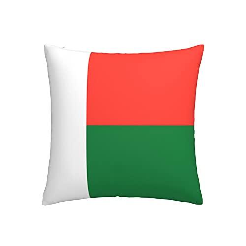 Kissenbezug mit Flagge von Madagaskar, quadratisch, dekorativer Kissenbezug für Sofa, Couch, Zuhause, Schlafzimmer, für drinnen & draußen, 45,7 x 45,7 cm