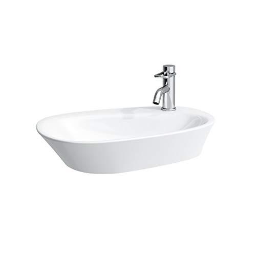Laufen Palomba Waschtisch-Schale, 1 Hahnloch, ohne Überlauf, mit Hahnlochbank, 600x400, Farbe: Weiß mit LCC