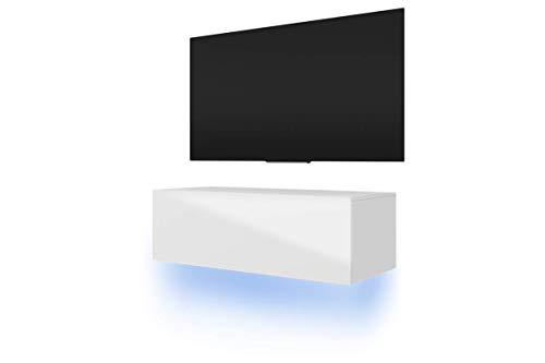 Selsey LANA – tv-kast lowboard televisiekast in zwart met hoogglans fronten Met RGB led. 100 cm matwit/wit hoogglans