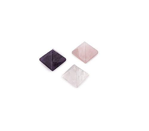 Astroghar Rose Quartz Amethyst and Clear Quartz 18 mm Nano Pyramid Set for Reiki Healing and Grid Making