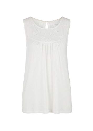 s.Oliver Damen Fabric-Mix-Top mit Lochstickerei Off-White 46
