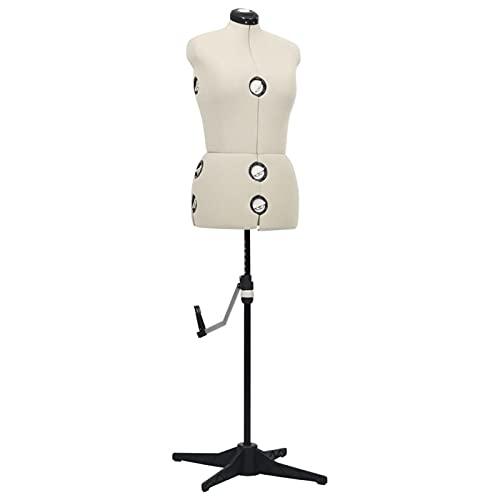 Tidyard Maniquí de Sastre Ajustable Mujer Maniquí Femenino de Costura para Modistas Exhibición Color Crema Talla M 40-46
