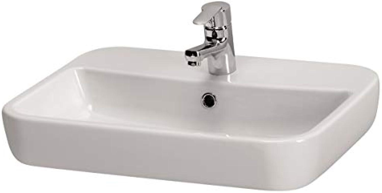 VBChome Moduo- Kollektion Waschbecken Caspia Square 60 59,5 cm x 42 cm x 10,5 cm Keramik Waschtisch Handwaschbecken Design Aufsatz-Waschschale FüR BADEZIMMER GSTE WC