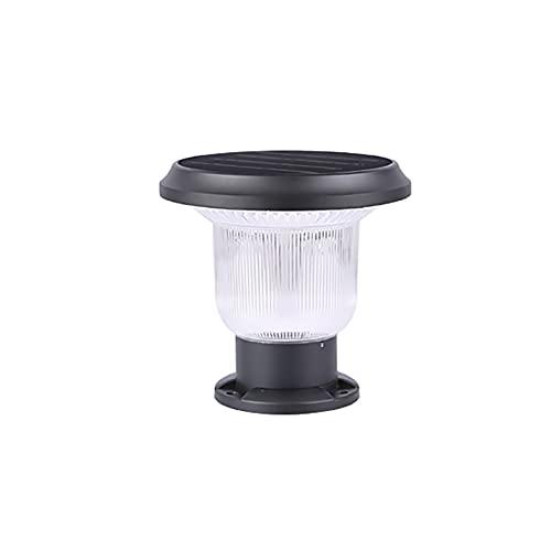 Lámpara de Jardín Luz Del Pilar Luces De Poste Solares LED Jardín Al Aire Libre Impermeable Cuadrado Lámpara De Tapa De Poste De Paisaje Para Postes De Madera, Cubierta, Patio (Color : Black A)