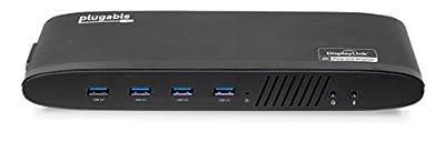 Plugable USB 3.0 Dual 4K Display Horizontal Docking Station with DisplayPort and HDMI for Windows (Dual 4K DisplayPort & HDMI, Gigabit Ethernet, Audio, 6 USB Ports)