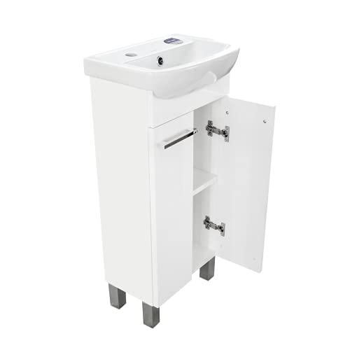Lavabo con armario bajo Lugo, mueble de baño, juego de 40 cm, lavabo de pie con armario inferior (color blanco)
