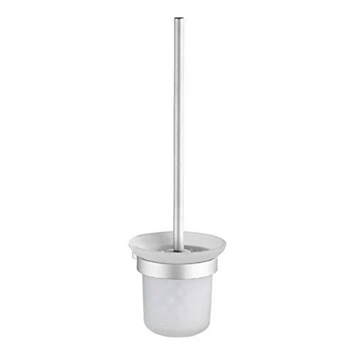 Escobilla de inodoro sin sacador montado en la pared WC mango de aluminio titular durable fácil de instalar Caddy taza de cristal baño herramienta de limpieza-China, blanco