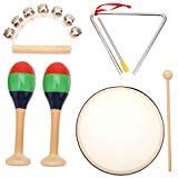 MUSICUBE 7 Pcs Kids Musical Instruments Toys Wood Percussion Set with Maracas Hand Bell Triangle Tambourine for Toddler Children Boys Girls