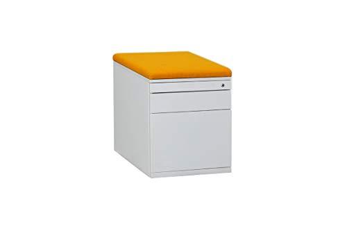 STEELCASE Rollcontainer Bürocontainer Unterstellcontainer Bürowagen Mit Schubladen Und HR-Auszug In Dekor Weiß Mit Sitzkissen in Orange, Geprüft Und Gebraucht, 56x44x60cm (Generalüberholt)
