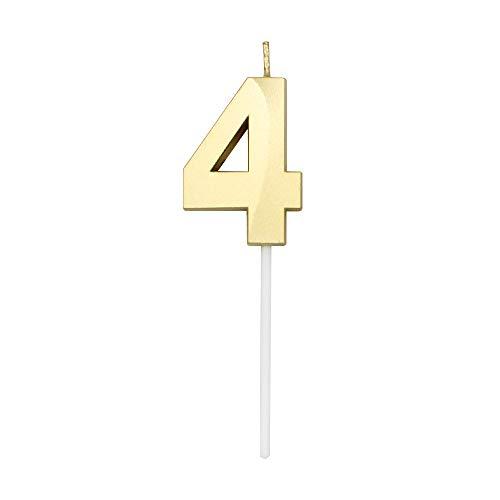 Dylan-EU Numero 4 Candele Digitale Compleanno Candela Candele per Torta di Compleanno d'oro Cake Topper Decorazione per Adulti o Bambini Festa di Anniversario di Compleanno