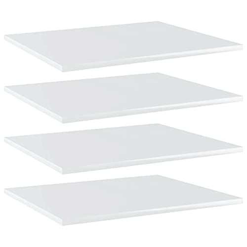vidaXL 4X Estantes Estantería Estudio Salón Decoración Libros Librería Librero Biblioteca Tablero Extra Aglomerado Blanco Brillo 60x50x1,5 cm