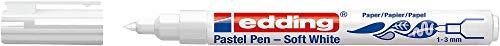 edding 1500 Pastellstift - weiß - 1 Stift - Rundspitze 1-3 mm - leicht-transparenter Fasermaler - zum Malen, Schreiben und Zeichnen auf schwarzem, dunklen und hellem Papier und Karton