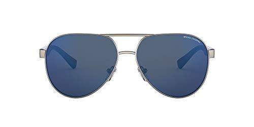 AX2031S Óculos de sol aviador metálico, Matte Gunmetal/Blue Mirror Blue, 60 mm