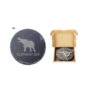 Elephant Gin Schiefer Untersetzer Bierdeckel mit Verpackung Set begrentzte Stückzahl - 4X Untersetzer